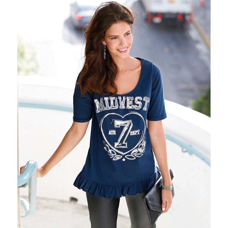 Camiseta mujer manga corta estampada con volante