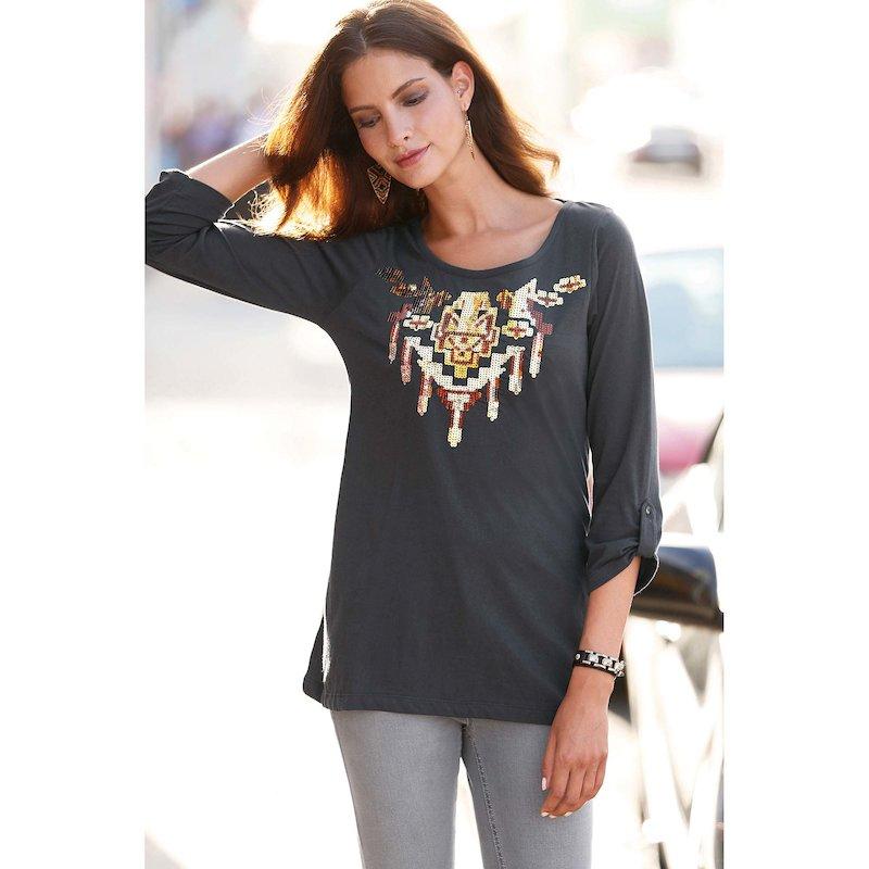 Camiseta mujer manga 3/4 regulable lentejuelas - Gris