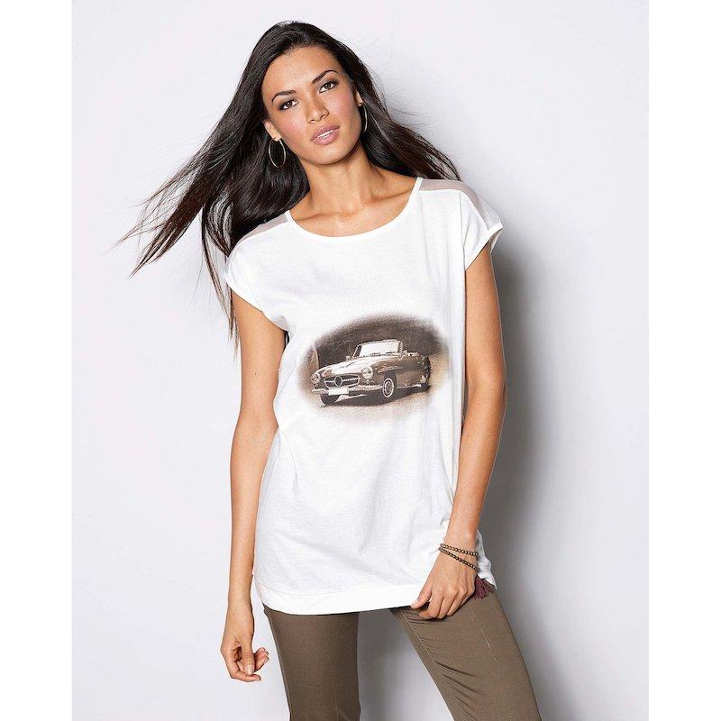 Camiseta mujer manga corta estampado vintage de coche
