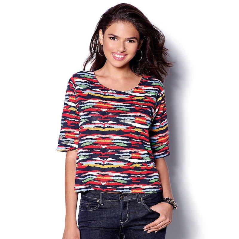 Camiseta mujer manga corta estampado multicolor