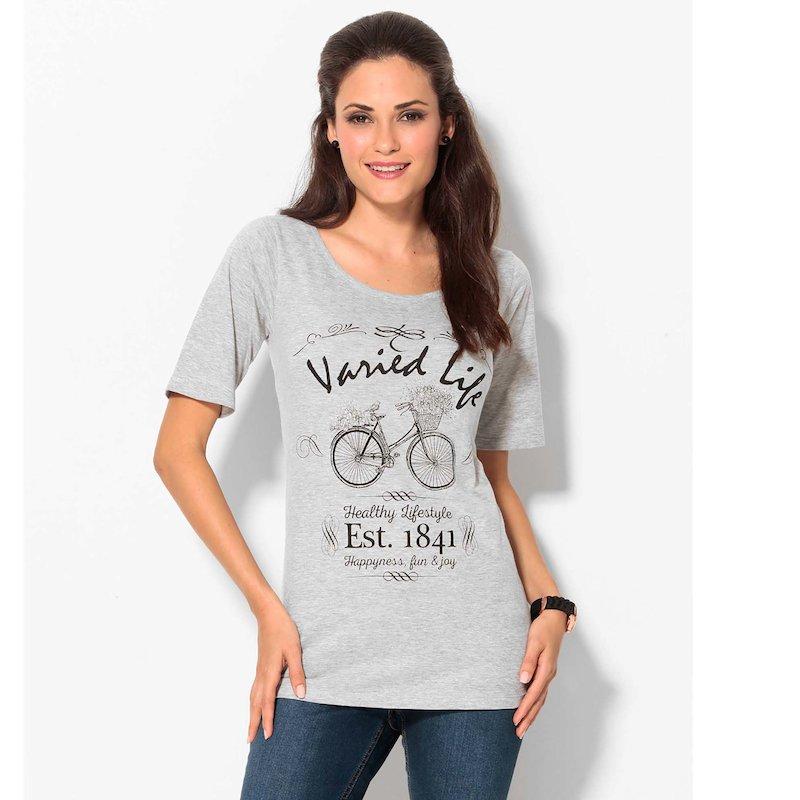 Camiseta mujer manga corta con strass de algodón