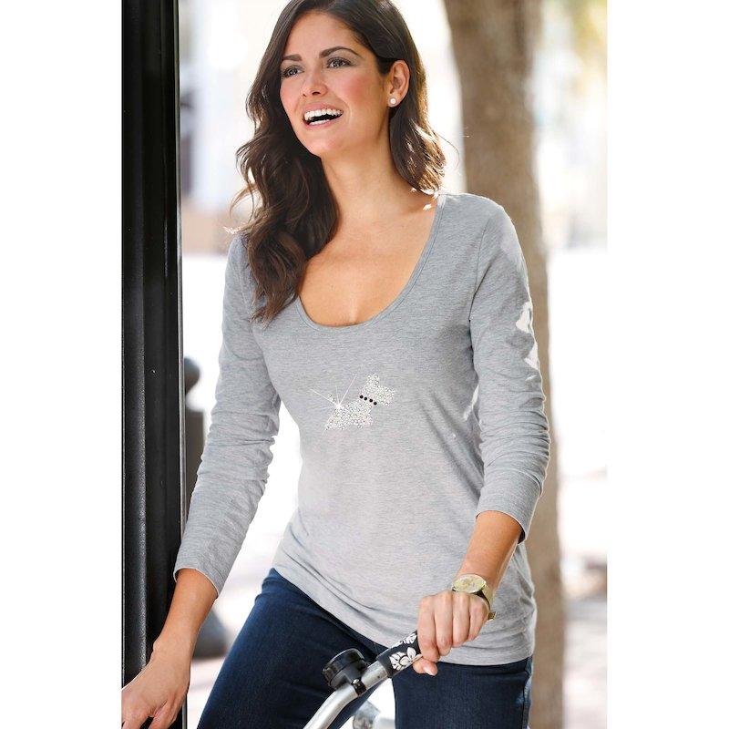 Camiseta mujer manga larga con strass