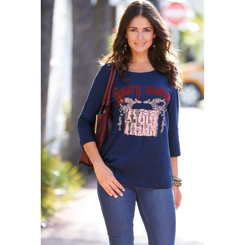 Camiseta mujer manga 3/4 llaves con strass