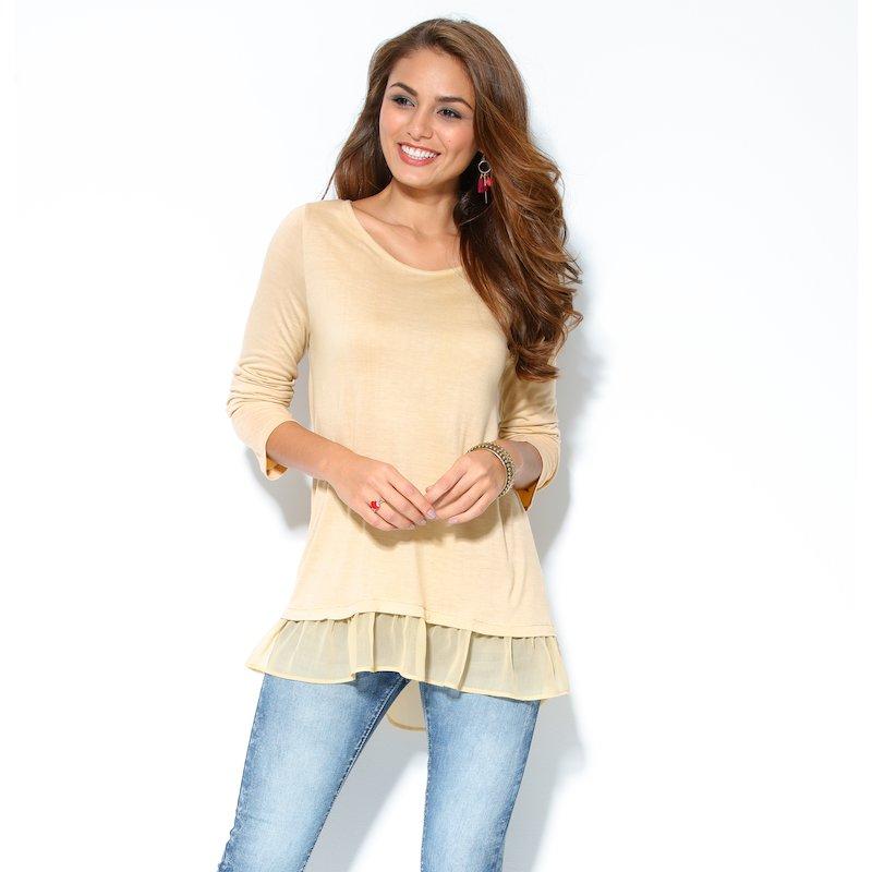 Camiseta mujer manga larga tejido y punto