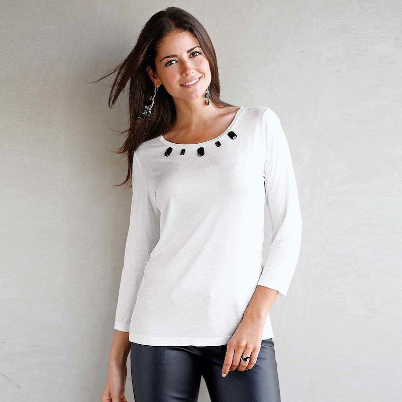 Camiseta de manga 3/4 mujer con pedrería