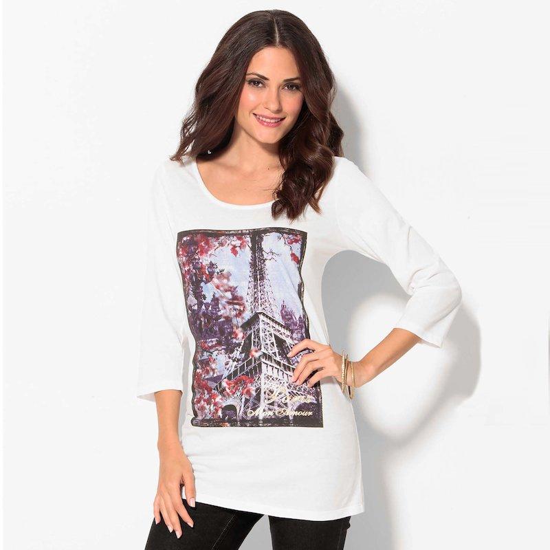 Camiseta mujer manga 3/4 Torre Eiffel París - Crudo