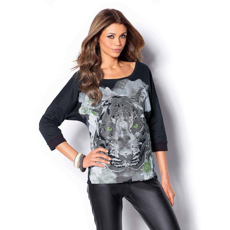 Camiseta mujer estampada con purpurina