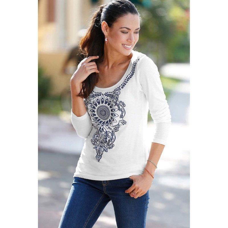 Camiseta mujer manga 3/4 estampado mandala