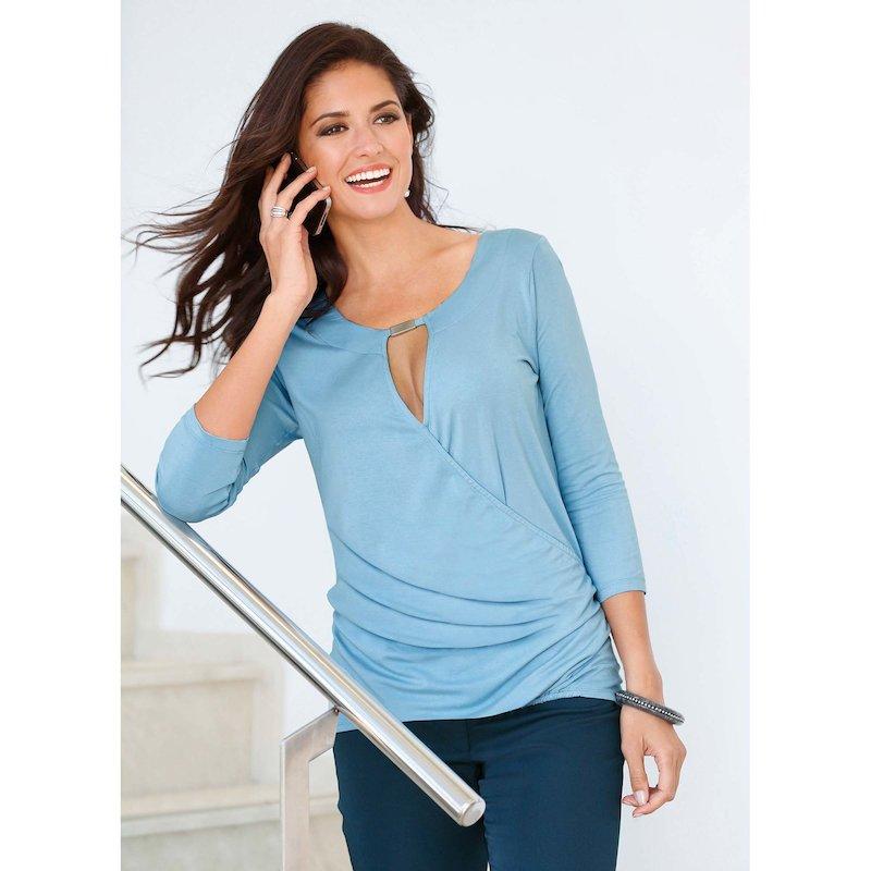 Camiseta mujer manga 3/4 corte cruzado