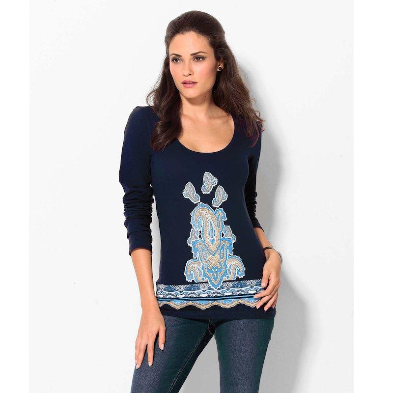 Camiseta manga larga estampado oriental frontal - Azul
