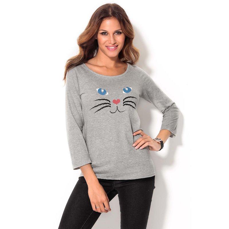 Camiseta mujer manga 3/4 estampado gato