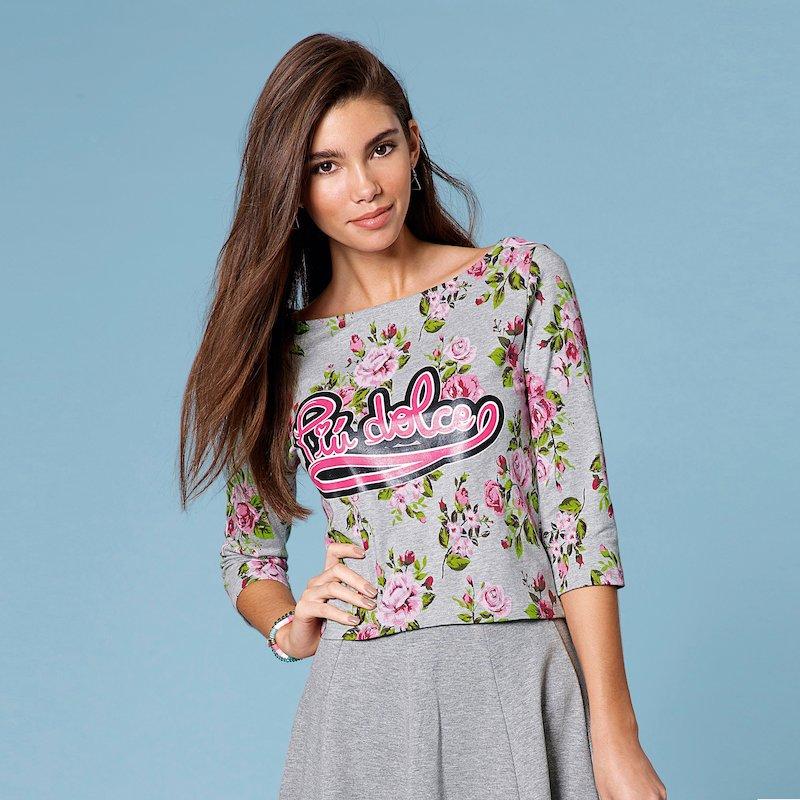 Camiseta mujer estampada con mensaje 100% algodón - Gris