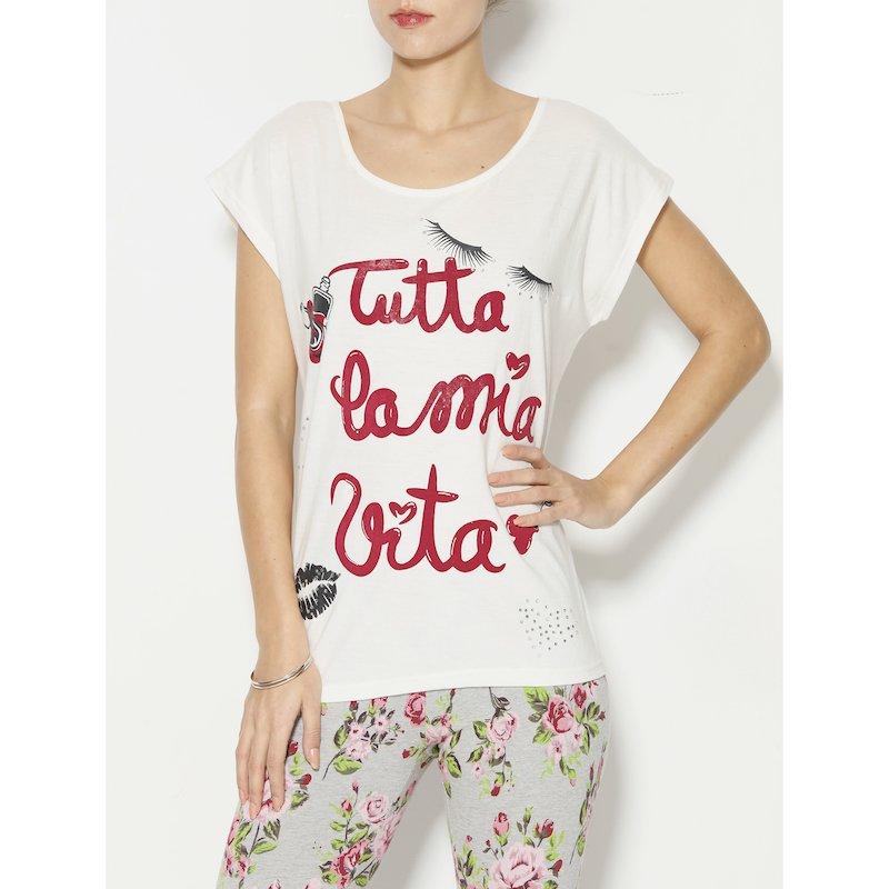 Camiseta con aplicaciones de strass mujer - Crudo