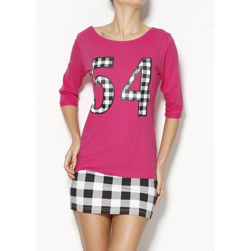 Camiseta mujer números estampados y tiras