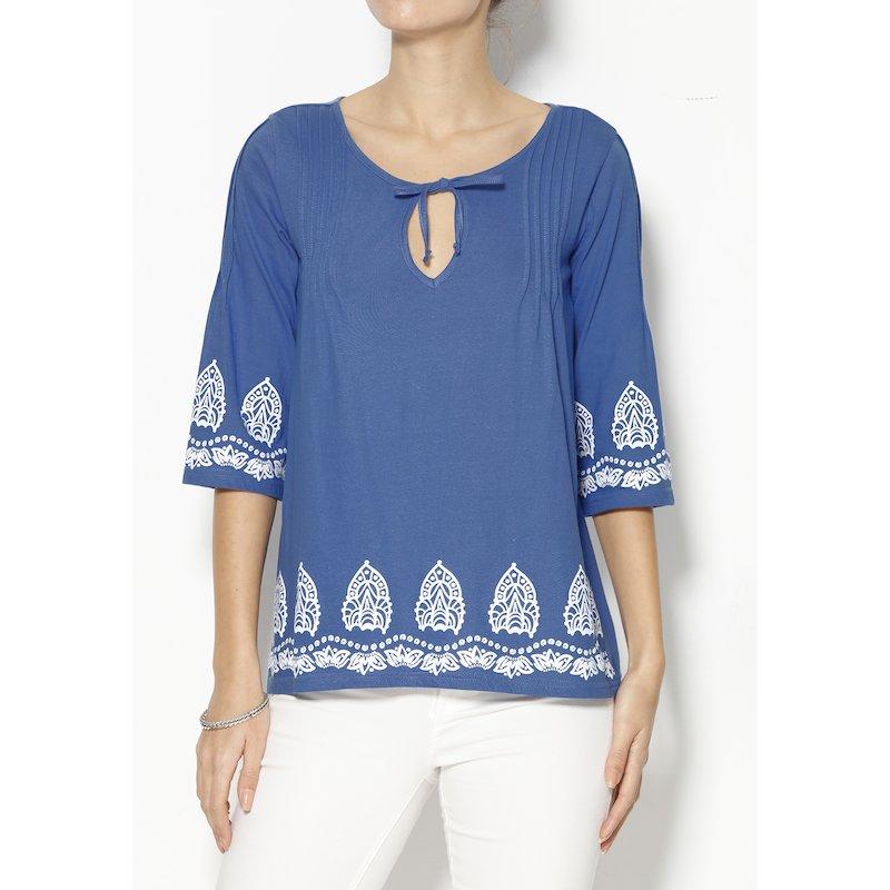 Camiseta de señora manga 3/4 con cenefas estampadas - Azul