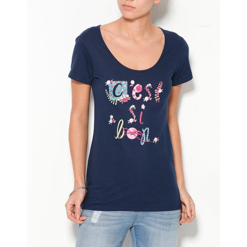 Camiseta mujer manga corta estampada C'est si bon