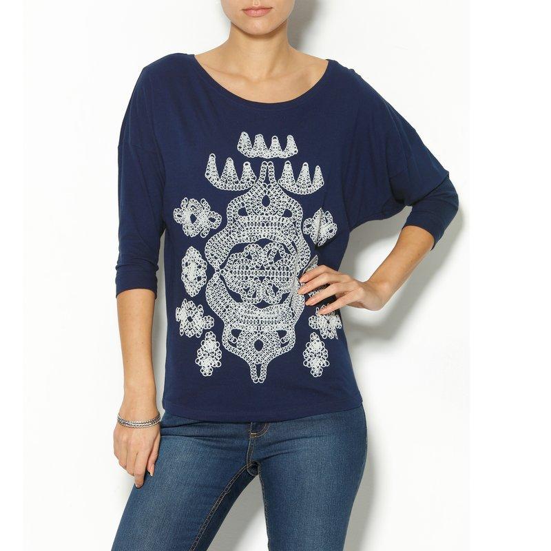 Camiseta mujer manga 3/4 con estampado flocado