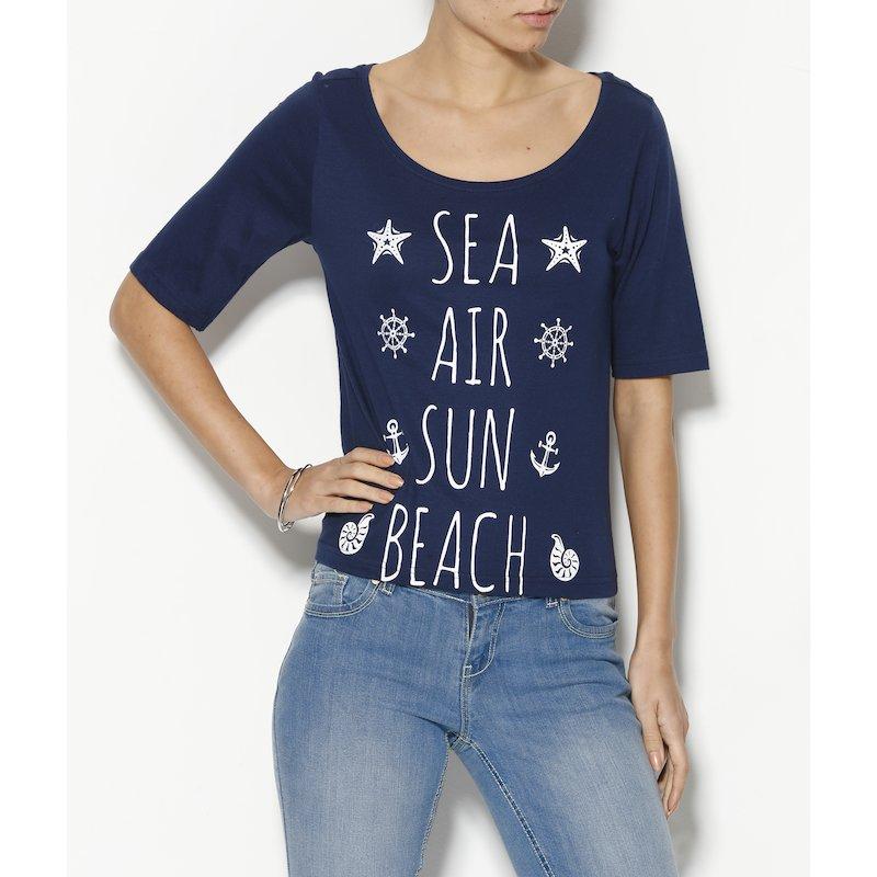 Camiseta de mujer con manga corta estampado marinero