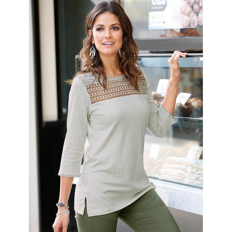Camiseta mujer de algodón con guipur