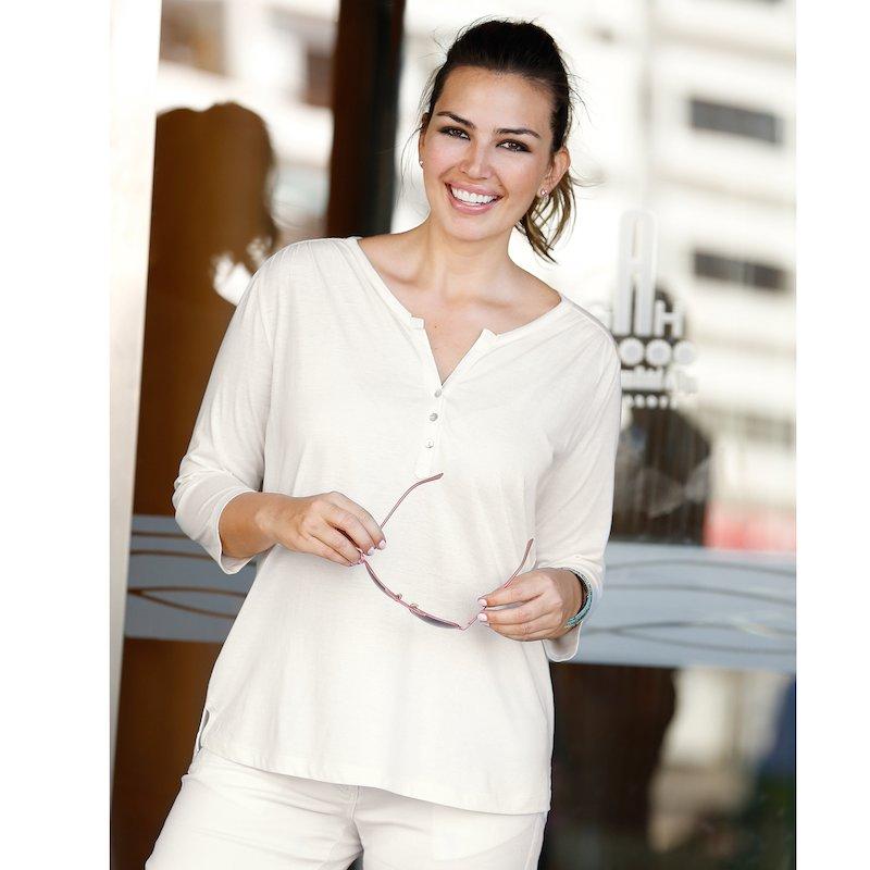 Camiseta mujer con botones manga 3/4 algodón