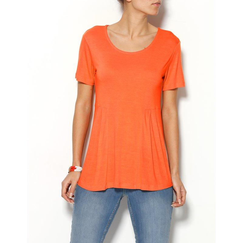 Camiseta mujer manga corta con pliegue de viscosa - Naranja