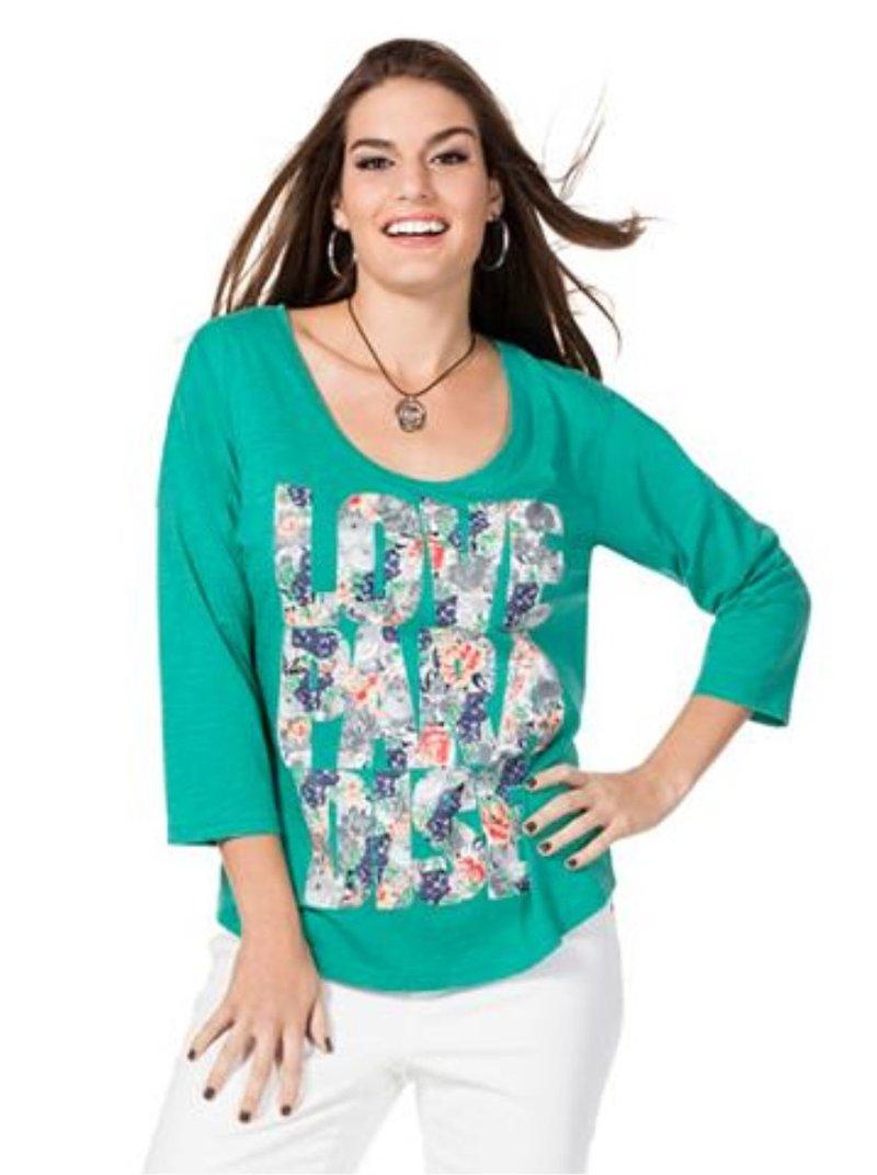 Camiseta puro algodón mangas 3/4 mujer