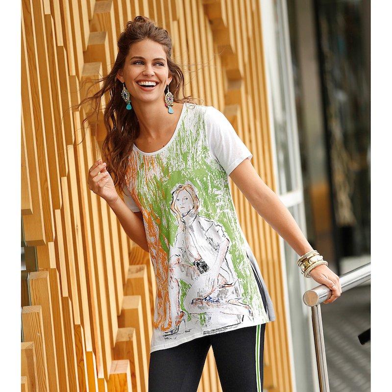 Camiseta larga manga corta de algodón con boceto