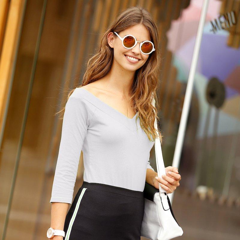 Camiseta mujer escote V manga 3/4 algodón - Blanco