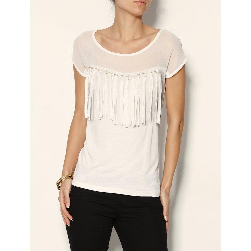 Camiseta canesú semitransparente y flecos mujer