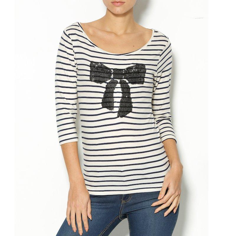 Camiseta mujer manga 3/4 de rayas con lentejuelas