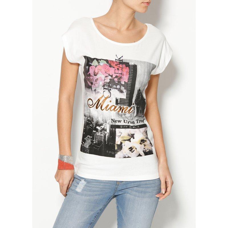 Camiseta mujer algodón con estampado metalizado
