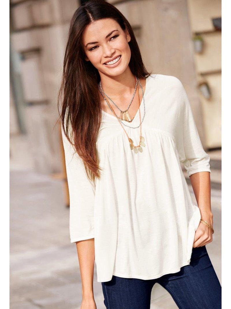 Camiseta mujer manga 3/4 en punto de viscosa
