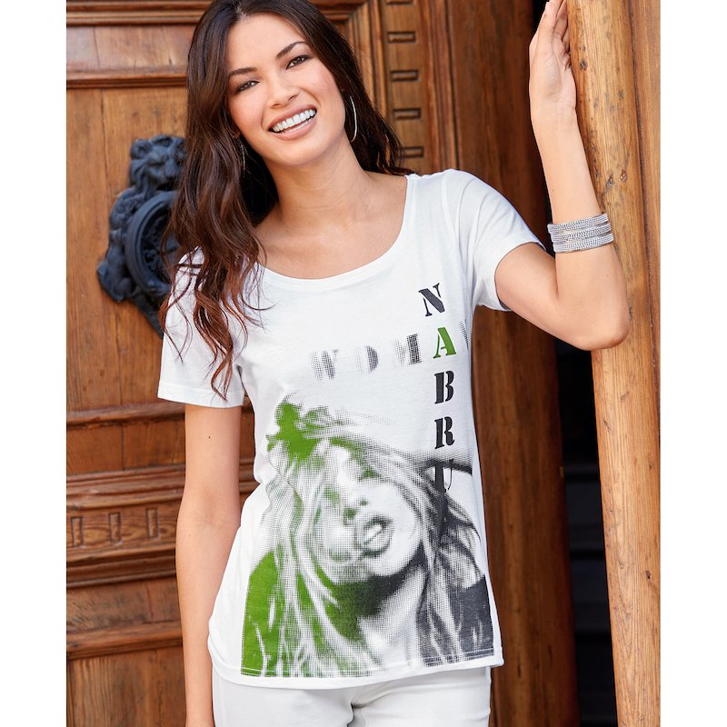 Camiseta mujer manga corta fotográfico frontal - Blanco