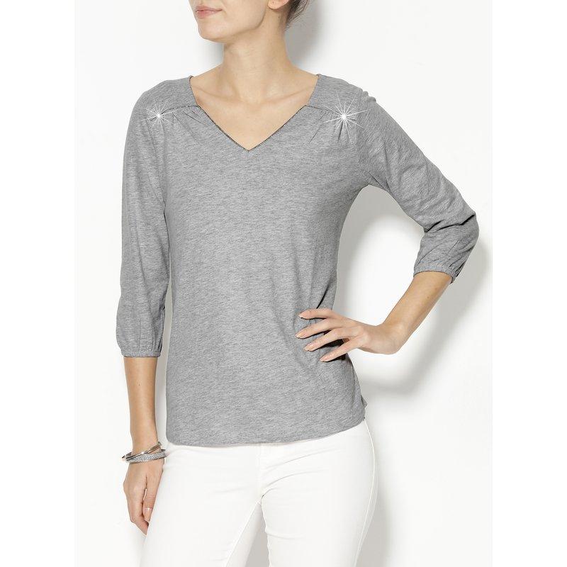 Camiseta mujer manga 3/4 algodón con vivos fantasía