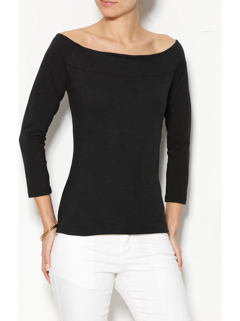 Camiseta mujer escote barco manga 3/4 negra