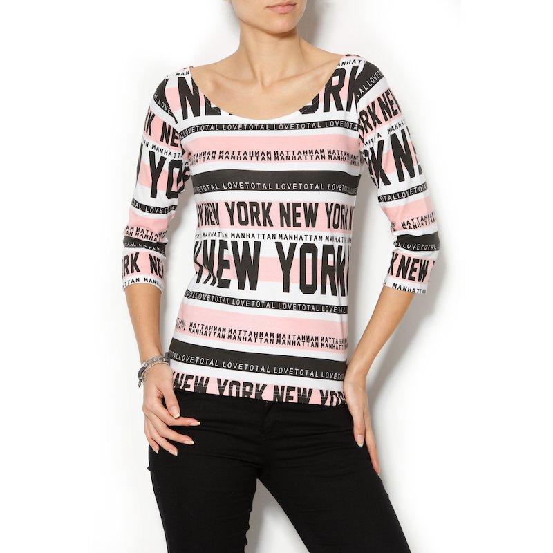 Camiseta mujer estampado New York de algodón - Rosa