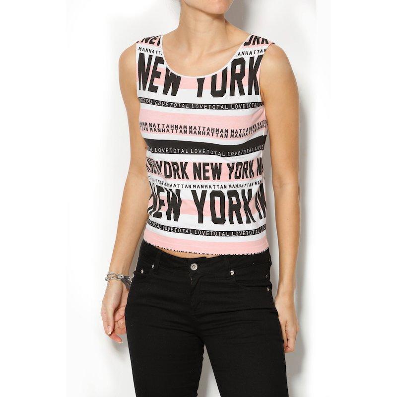 Camiseta mujer sin mangas estampado gráfico New York