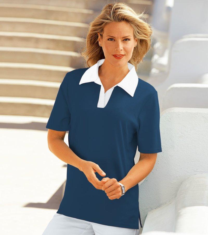 Camiseta polo mujer manga corta de algodón