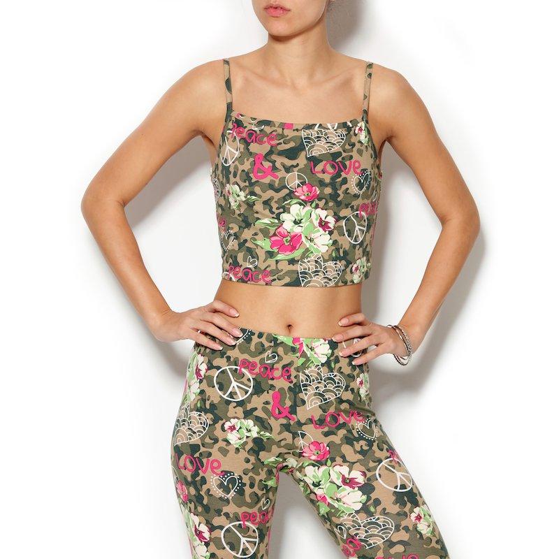 Camiseta mujer de tirantes estampado camuflaje