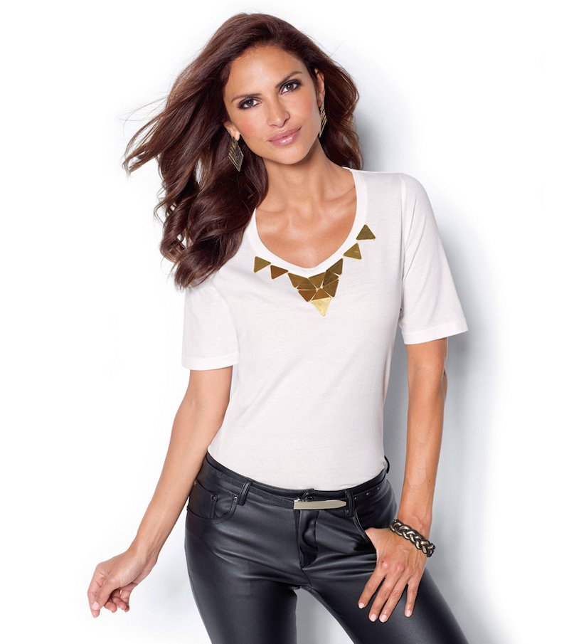 Camiseta mujer manga corta motivos metalizados