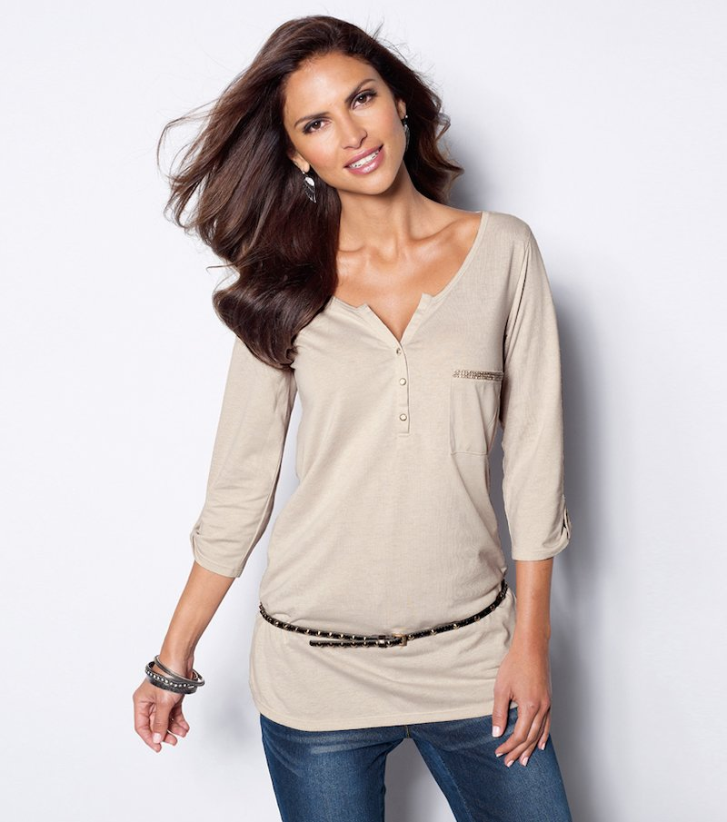 Camiseta larga mujer manga regulable con strass