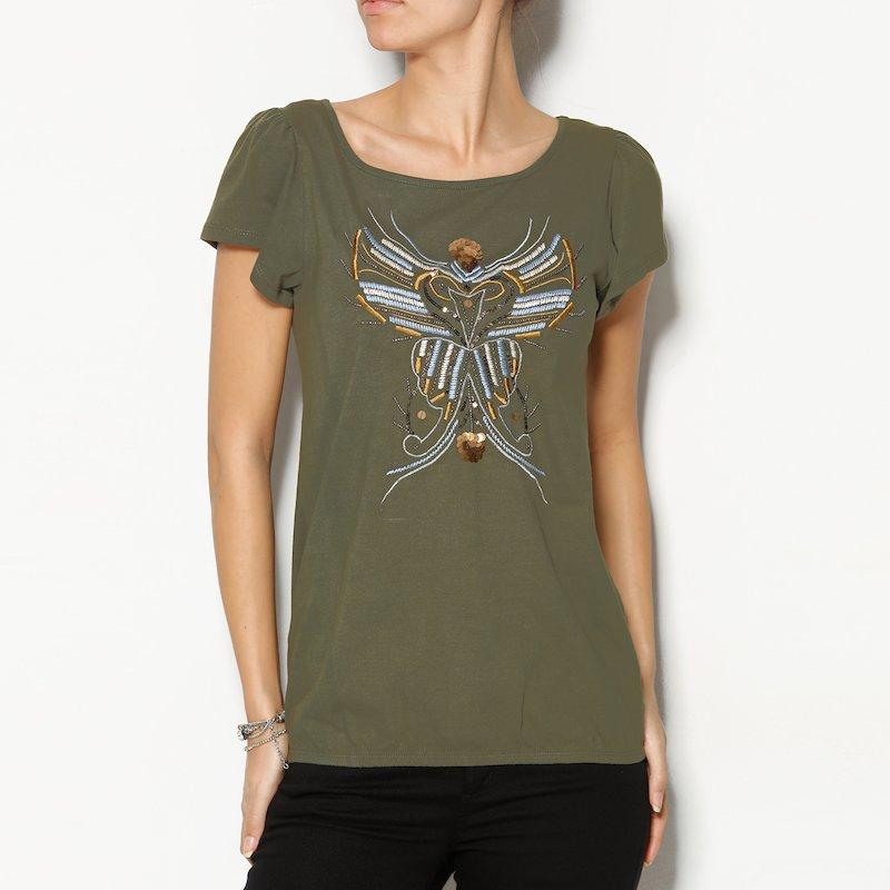 Camiseta mujer algodón con bordado y lentejuelas