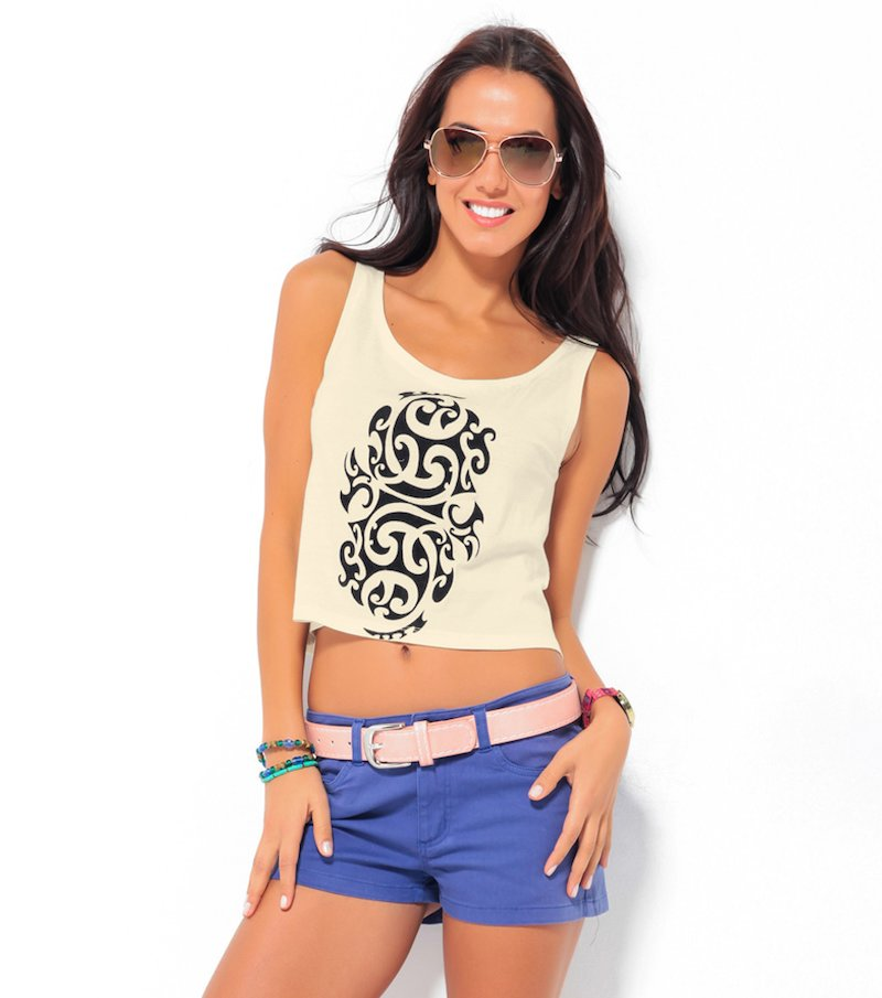 Camiseta top crop mujer tirantes tribal