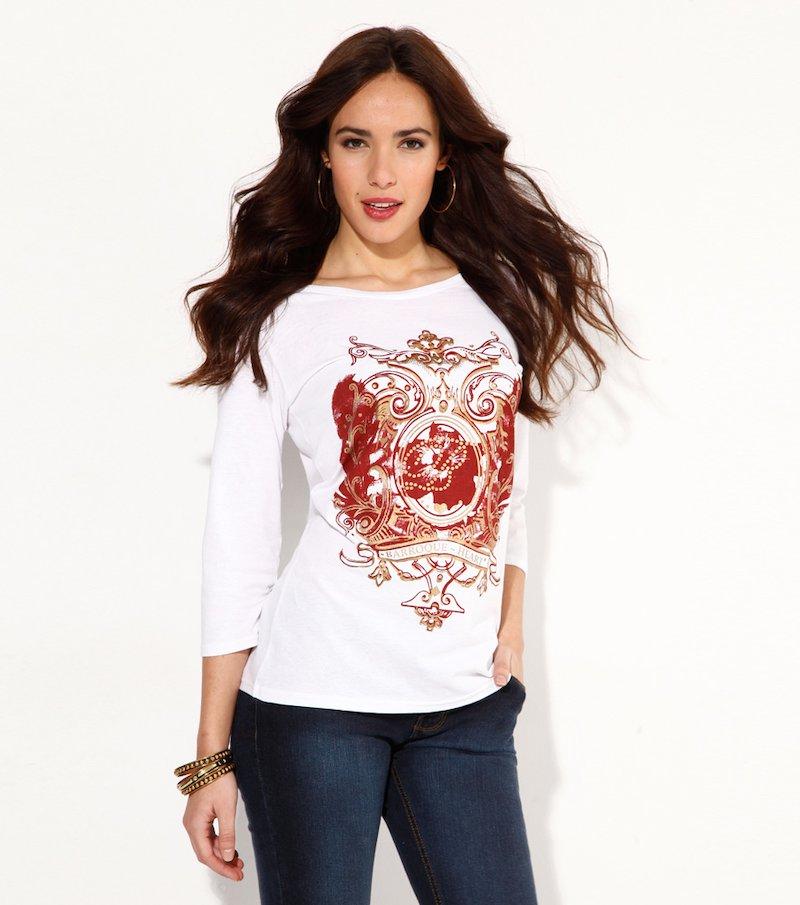 Camiseta mujer manga 3/4 estampada con metalizado