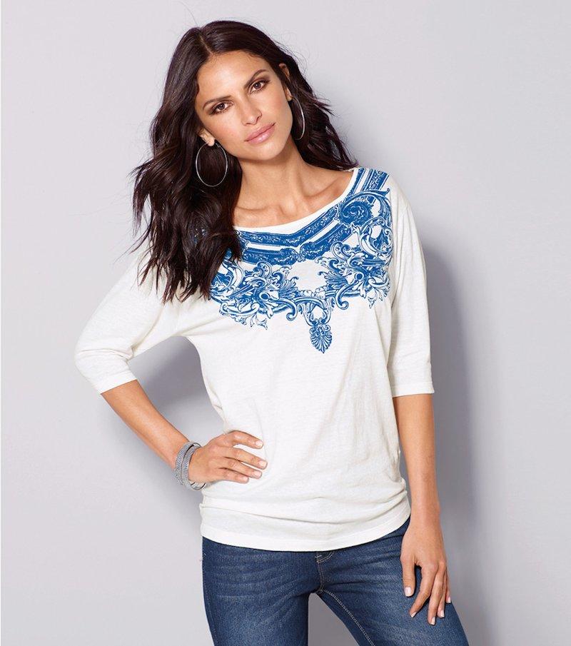 Camiseta mujer manga 3/4 con estampado print tile