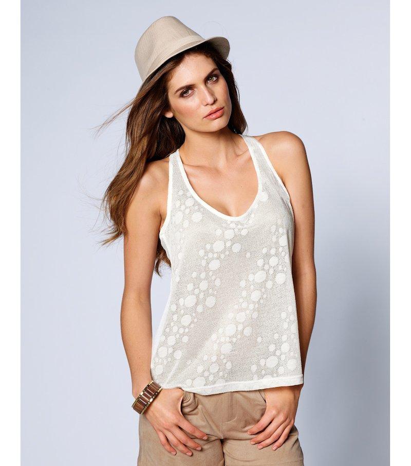 Camiseta mujer sin mangas punto de fantasía