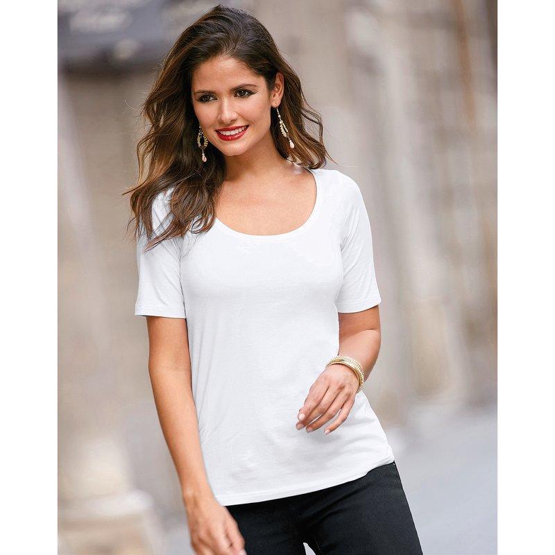 Camiseta de manga corta en punto liso elástico