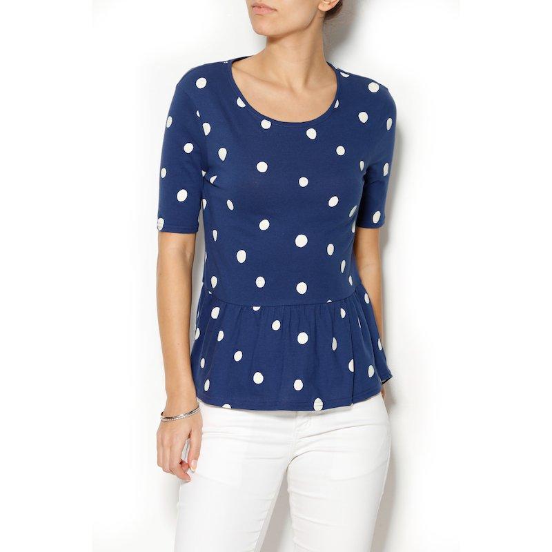 Camiseta mujer manga corta peplum topos