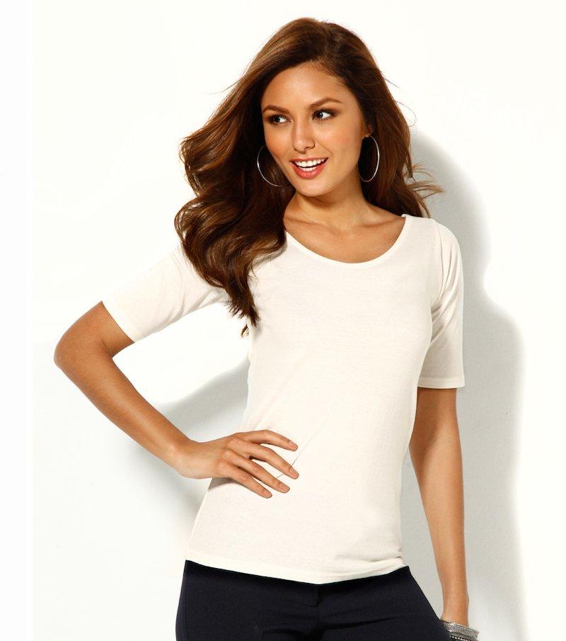 Camiseta mujer manga corta punto liso elástico
