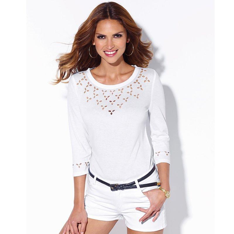 Camiseta manga 3/4 con detalles calados en canesú - Blanco